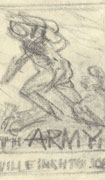 Five rough pencil sketches on white paper of a soldier running and one of a helmet. Text is placed within the sketches.