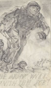 Rough pencil sketch on white paper of three soldiers charging forward from a trench