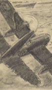 Pencil sketch on whiter paper of a double-engined plane diving and strafing a ship with machine gun fire