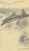 Pencil sketch on white paper of a plane in flight over ships, divided in four panels