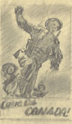 Rough pencil sketch on white paper of three soldiers running. The lead soldier's hand is up in the air. Title at bottom