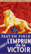 Colour poster with illustration of a golden lion on a red and blue background. A green maple leaf is under its belly. Text in red on white background at top, and in white on blue background at bottom