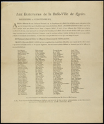 Broadside printed in black on brown paper, listing the names of supporters of Mr. Raby and Mr. Lester in four columns
