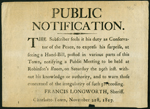 Broadside with black text on light brown paper, signed Francis Longworth