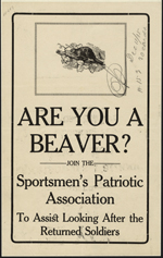 Advertisement with black text on beige paper and an illustration of a beaver with the initials