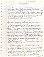 Page from manuscript for the article SOUVENIRS DIVERS, written for CAP DIAMANT, December 5, 1986, page 1