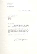 Letter to Roger Lemelin from René Lévesque, February 13, 1980