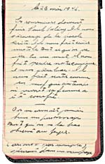 First page of one of Lemelin's notebooks, 1945