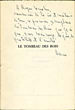 Half-title page of LE TOMBEAU DES ROIS, [1953], with a handwritten dedication to Roger Lemelin