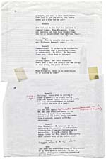 Page from the typescript of THE SWANN SYMPOSIUM, with two pages taped together and numbered page 31