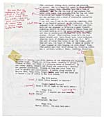 Page from the typescript of THE SWANN SYMPOSIUM, with two pages taped together and numbered page 34