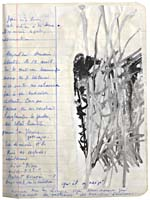 Page from Blais' notebook, 1991, with handwritten text and original art work, [page 32]