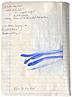 Page from Blais' notebook, 1991, with handwritten text and original art work, [page 61]