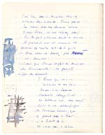 Page from Blais' notebook III, 1965, featuring handwritten text with drawings and paintings in the margin, [page 19]
