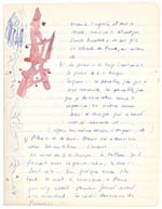 Page from Blais' notebook III, 1965, featuring original artwork and handwritten text, [page 20]