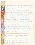 Page from Blais' notebook III, 1965, with handwritten text and a painting in the margin, [page 22]