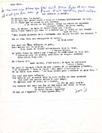 Typescript of the unpublished poem LES ENFANTS DU SOLEIL, 1960, with handwritten note