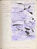 Page from Blais' notebook IV, 1965, with handwritten text and original artwork, [page 56]