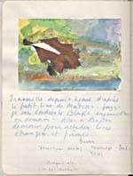Page from Blais' notebook IV, 1965, with handwritten text and original artwork, [page 97]