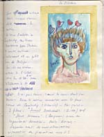 Page from Blais' notebook IV, 1965, with handwritten text and a drawing entitled POET, [page 98]