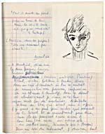 Page from Blais' notebook VIII, 1966-67, with handwritten text and original artwork, [page 74]