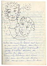 Page from Blais' notebook XI, 1968, with handwritten text and original artwork, [page 14]