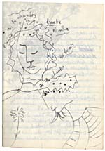 Page from Blais' notebook XI, 1968, with original artwork, [page 16]