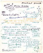 Page from Blais' orange notebook for VISIONS D'ANNA and LE SOURD, 1979, with handwritten text and illustrations, page 44