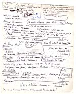 Page from Blais' orange notebook for VISIONS D'ANNA and LE SOURD, 1979, page 46