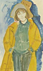 Watercolour portrait of Marie-Claire Blais by Mary Meigs