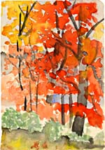 Watercolour of autumn trees, by Elizabeth Smart, pre-1939