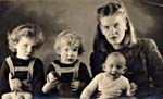 Photograph of Elizabeth Smart and her three children, August 20, 1945