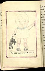 Drawing of a child holding someone's hand, from manuscript notebook THE SECOND EDITION OF THE COMPLETE WORKS OF BETTY SMART, 1929, page [17]
