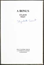 Title page of collection of poems, A BONUS, signed, 1977