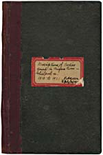 Cover of black manuscript notebook with red label bearing the words, DESCRIPTIONS OF BODIES FOUND IN THE NIAGARA RIVER - WHIRLPOOL, ETC. 1910 T0 1931 AND PART OF 1932 TO JULY 30, 193[2]