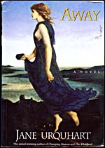 Cover of AWAY: A NOVEL, with illustration of a woman floating over a coastal village, 1993