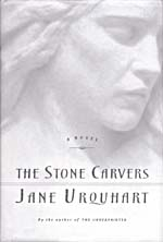 Cover of novel, THE STONE CARVERS, with an illustration of the head of a statue of a young woman, 2001