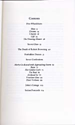 Table of contents of book, STORM GLASS, 1987