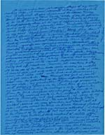 Page of manuscript of AFTERWORD TO EMILY CLIMBS, written in blue ink on blue paper, undated, page 1