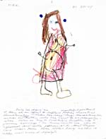 Page from Jane Urquhart's diary showing a child's crayon drawing of a girl, entitled ROBIN, BY EMILY, followed by an explanatory manuscript text, undated, page 8