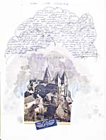 Page from Jane Urquhart's diary, entitled STORM OVER CONQUES, with an illustration of a church, with watercolour clouds and other clouds, in blue ink, that are filled with manuscript text, undated, page [146]
