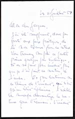 First page of handwritten letter to Jacques Brault from Alain Grandbois, July 21, 1959