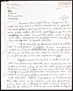 First page of a handwritten manuscript of a lecture on Jean-Arthur Rimbaud, 1954