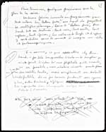Fifth page of a handwritten manuscript of a lecture on Jean-Arthur Rimbaud, 1954