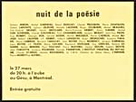Invitation to a poetry reading, NUIT DE LA POÉSIE, held at the Gesù theatre, March 27, 1970. The names of several French-language poets are listed on the invitation