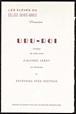 Cover of program for UBU-ROI, presented at the Collège Sainte-Marie, 1953