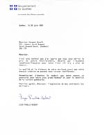 Letter to Jacques Brault from Liza Frulla-Hébert on behalf of the Government of Quebec, June 20, 1991, informing Brault that he has been awarded the Alain-Grandbois poetry prize