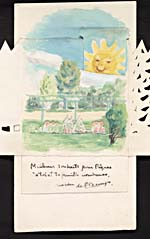 Interior of an Easter card, handmade and illustrated by Saint-Denys Garneau, featuring a watercolour of a forest scene opening on a garden; under the illustration is a handwritten note signed by Saint-Denys Garneau