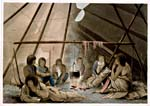 Engraving of a Cree family around a fire inside a tipi