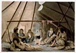 Gravure montrant un famille crie autour d'un feu à l'intérieur d'un tipi